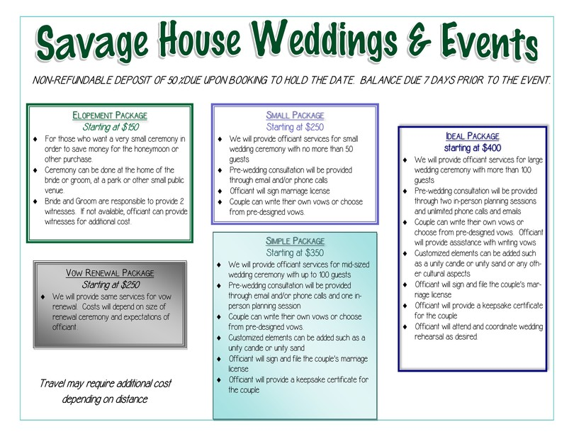 Savage House Weddings Events