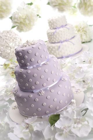 Three Layer Cake 3 Tier Lavender Ribbon White