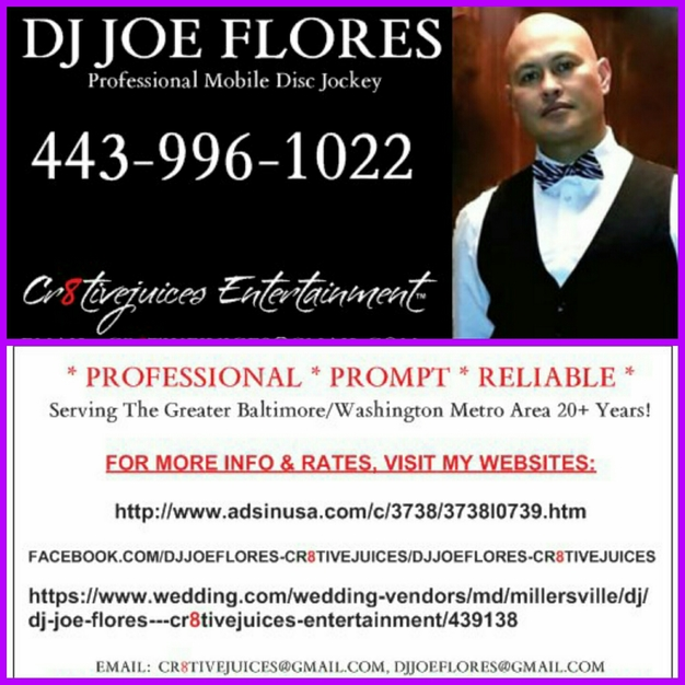 DJ in Millersville - DJ JOE FLORES - CR8TIVEJUICES ENTERTAINMENT